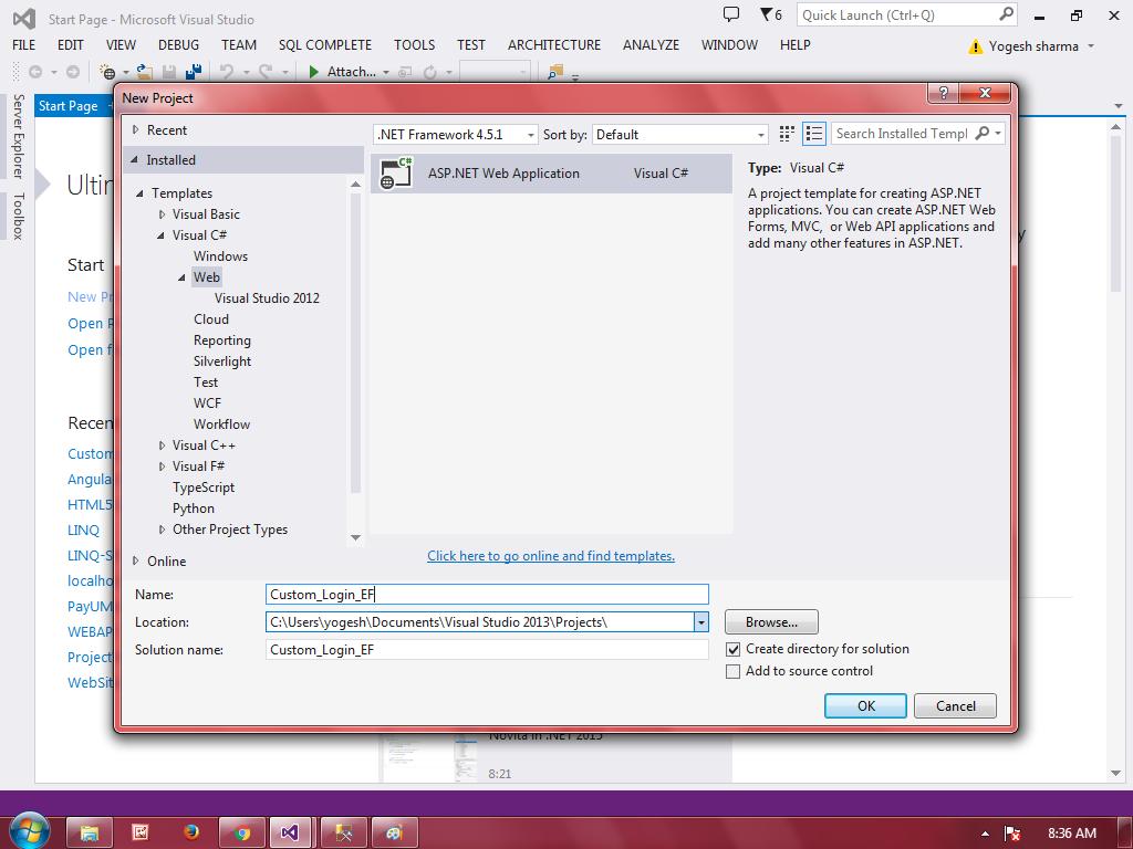 CreateNewASP.NET MVC Project