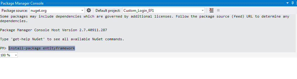 Entity Framework Installation Command