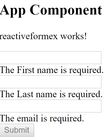 Reactive form example
